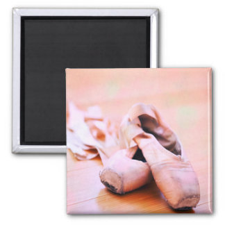 Pink Ballet Slipper Pointe Shoes Dance Template Square Magnet
