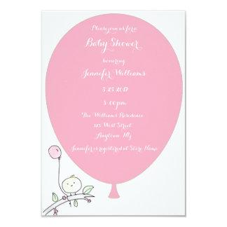 Pink Balloon Bird Baby Shower Invitations