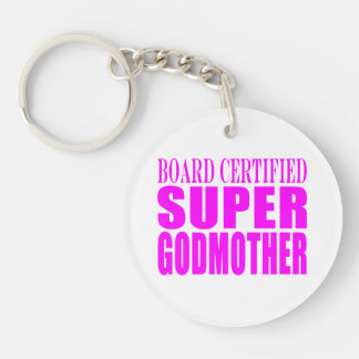 Pink Baptisms & Birthdays : Super Godmother Single-Sided Round Acrylic Key Ring
