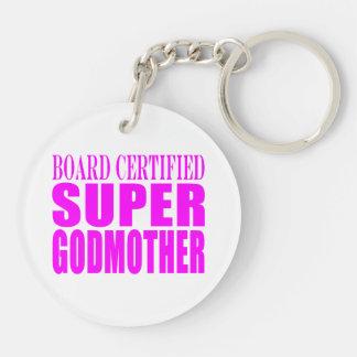 Pink Baptisms & Birthdays : Super Godmother Double-Sided Round Acrylic Key Ring