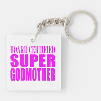 Pink Baptisms & Birthdays : Super Godmother Double-Sided Square Acrylic Key Ring