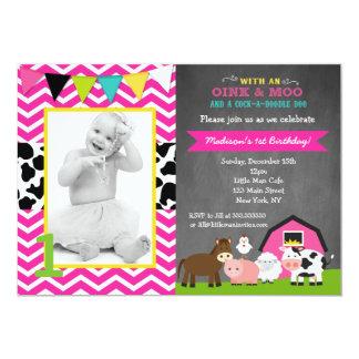 Pink Barnyard Farm Birthday Invitations