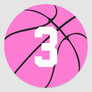 Pink Basketball Player Jersey Number or Initial Classic Round Sticker