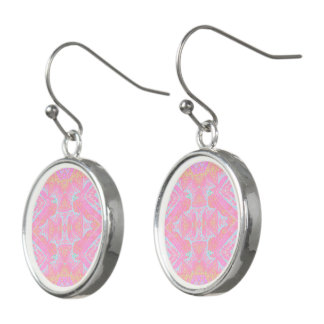 Pink Batik drop earrings