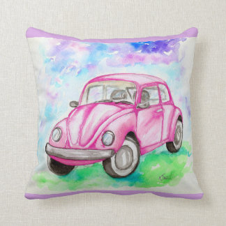 Pink Beetle Throw Pillow