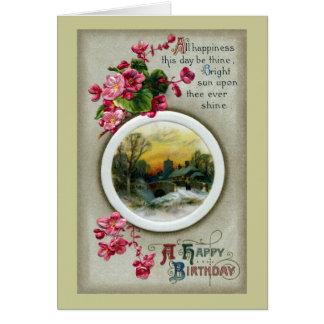 Pink Begonias Vintage Birthday Vignette Card