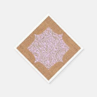Pink Beige Color Vintage Scrollwork Burlap Design Paper Napkins