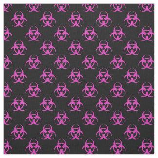 Pink Biohazard Symbol Pattern Fabric