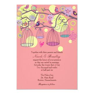 Pink Bird Cage Love Birds Wedding Invitation