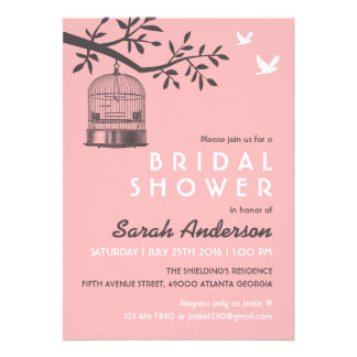 Pink Bird Cage Rustic Bridal Shower Invitation
