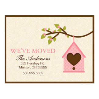 Pink Bird House Hanging Moving Announcements Postcard