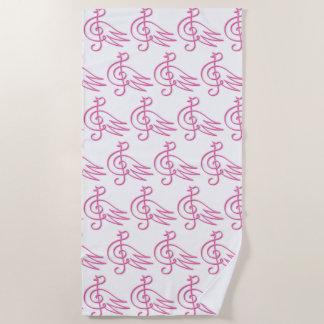 Pink bird music beach towel