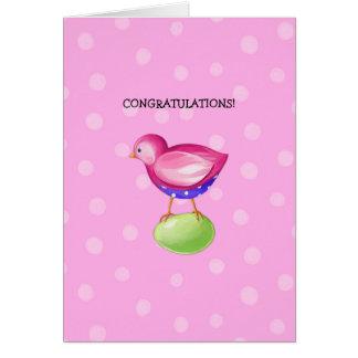 Pink Bird pink New Baby Congratulations Card