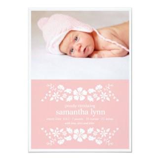 Pink Birth Announcement White Flowers