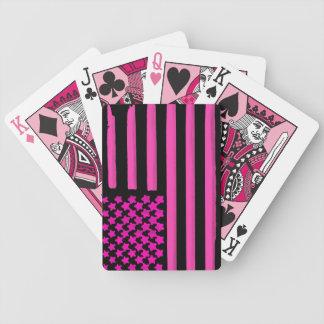 Pink black American flag grunge playing cards