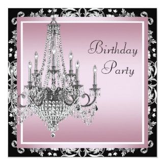 Pink Black Damask Chandelier Birthday Party 13 Cm X 13 Cm Square Invitation Card