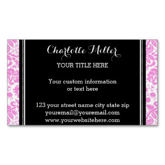 Pink Black Damask Magnetic Business Card Magnetic Business Cards