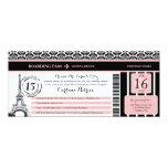 Pink Black Damask Quinceanera Paris Boarding Pass 10 Cm X 24 Cm Invitation Card