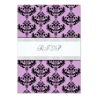 Pink & Black Damask RSVP wedding reply cards Personalized Invite