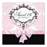 Pink Black Damask Sweet 16 Birthday Party 13cm X 13cm Square Invitation Card