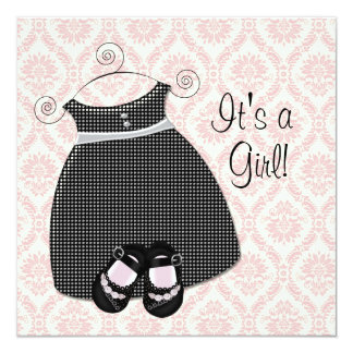 Pink Black Dress Shoes Pink Black Damask Baby Girl Card