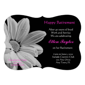 Pink & Black Floral Retirement Party Invitation