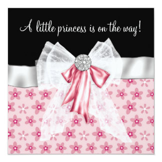 Pink Black Flowers Bows Princess Baby Shower Card