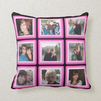 Pink & Black Frame Add Photos Instagram Collage Cushion