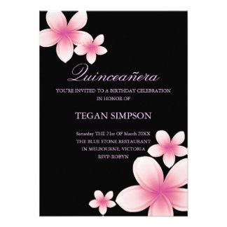 Pink Black Frangipani Quinceañera Birthday Invite