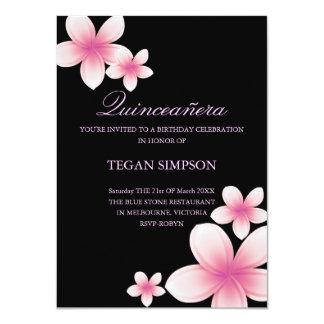 Pink/Black Frangipani Quinceañera Birthday Invite