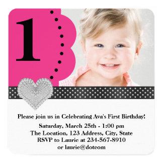 Pink Black Girls Photo 1st Birthday Party 13 Cm X 13 Cm Square Invitation Card