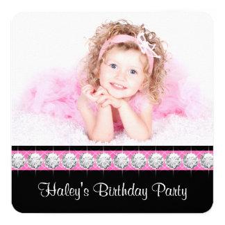 "Pink Black Girls Photo Birthday Party Invitations 5.25"" Square Invitation Card"