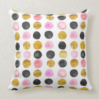 Pink, Black & Gold Polka Dot Throw Pillow