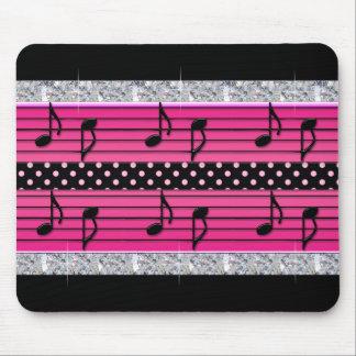 Pink & Black Polka Dot Diamonds & Musical Notes Mouse Pad