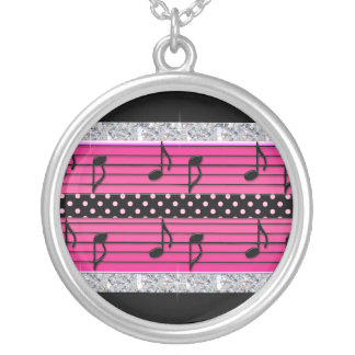 Pink & Black Polka Dot Diamonds & Musical Notes Silver Plated Necklace