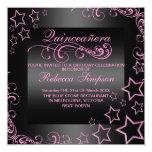 Pink/Black Quinceañera Star & Swirl Invite 13 Cm X 13 Cm Square Invitation Card
