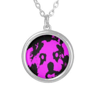 Pink/Black Shih Tzu Puppy Small Round Necklace