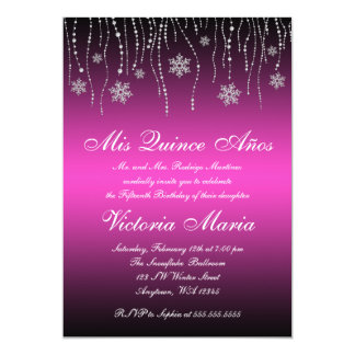 Pink Black Snowflakes Quinceanera Birthday Party 13 Cm X 18 Cm Invitation Card