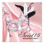 Pink Black Sweet 16 Masquerade Party Custom Invites