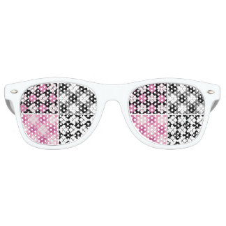 pink black white plaid girly cute pattern trendy retro sunglasses