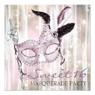 Pink Black White Sweet 16 Masquerade Party Card