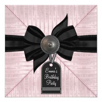 Pink Black Womans Birthday Party 13 Cm X 13 Cm Square Invitation Card