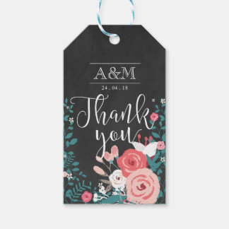 Pink Bloom and Chalkboard Thank You Wedding Favor