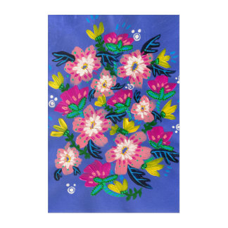 Pink Blooms Acrylic Wall Art