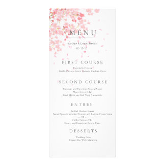 Pink Blossom Wedding Menu Card Custom Rack Card