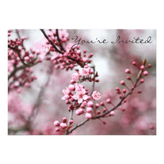 Pink Blossoms in Spring Photo Personalized Invitation