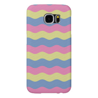 Pink, blue and yellow waves samsung galaxy s6 cases