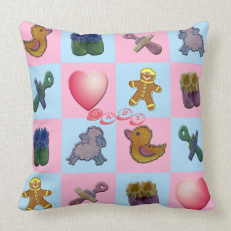 Pink Blue Baby Shapes Cushion