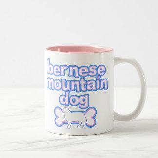 Pink & Blue Bernese Mountain Dog Two-Tone Coffee Mug