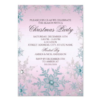 Pink & Blue Crystal Snowflake Christmas Party 13 Cm X 18 Cm Invitation Card